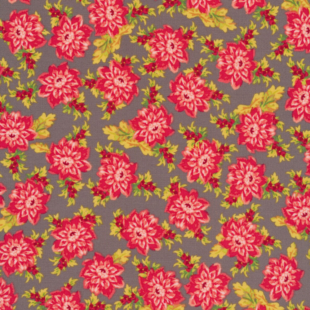 Tossed pink floral and leaves on a taupe background