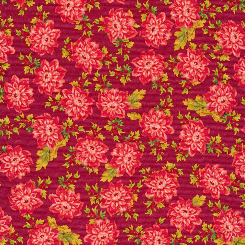 Tossed pink floral and leaves on a red background
