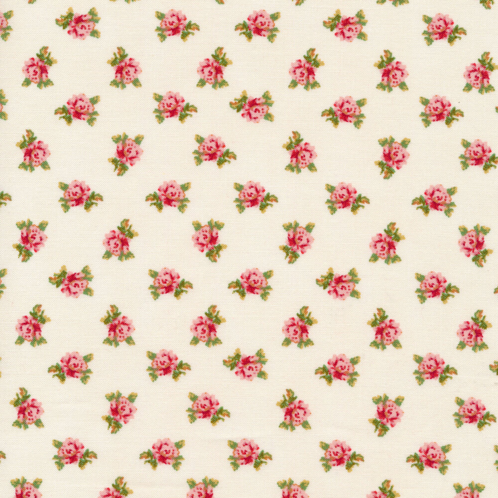 Tossed pink flowers on a white background