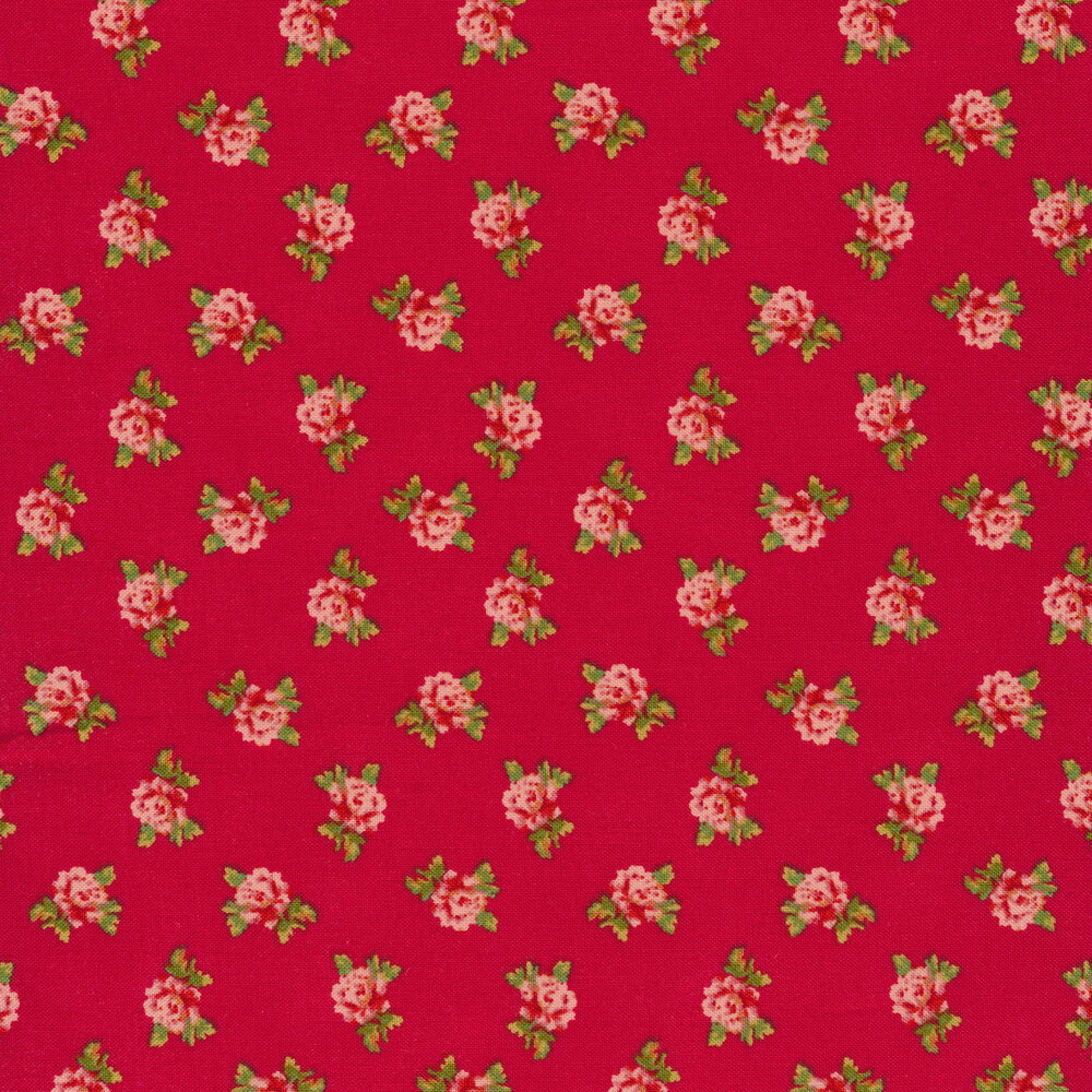 Tossed pink flowers on a red background
