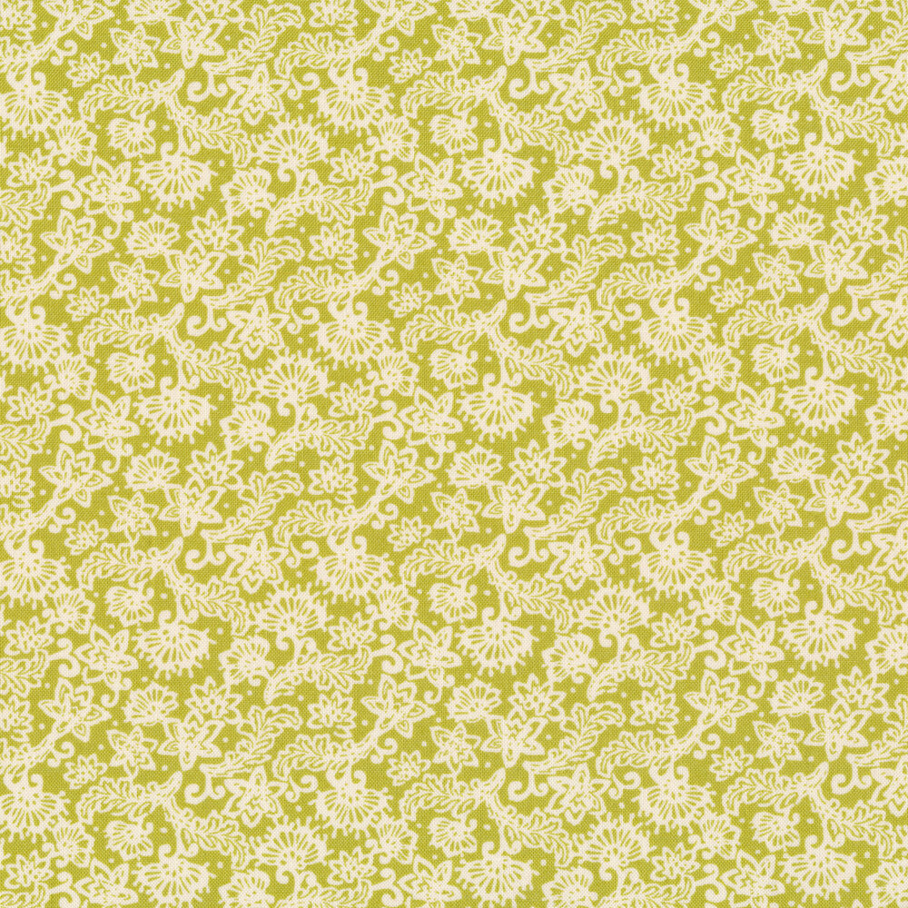 White flower and leafy vine designs on a green background