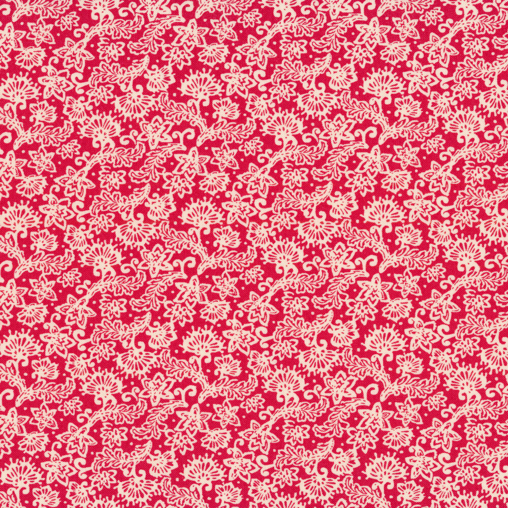 White flower and leafy vine designs on a red background