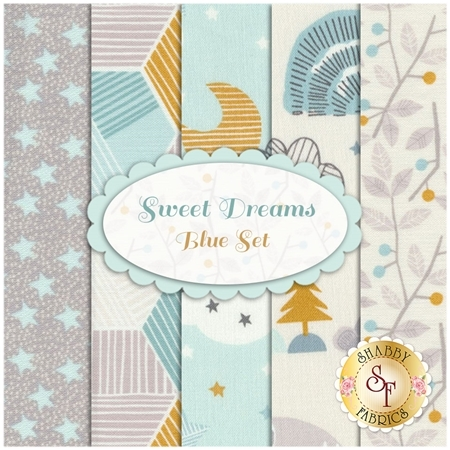 Sweet Dreams  5 FQ Set - Blue Set by Maude Asbury for Blend Fabrics