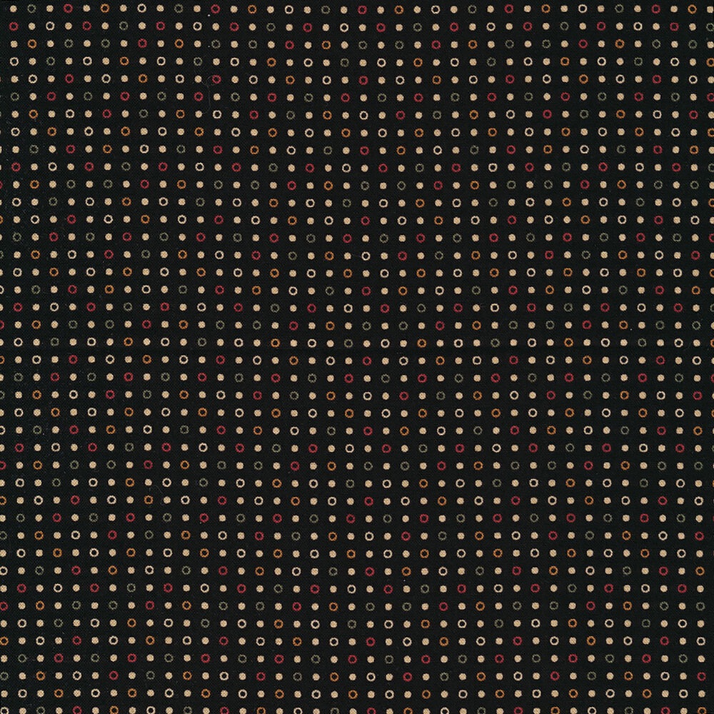 Colored dots and rings on a black background | Shabby Fabrics