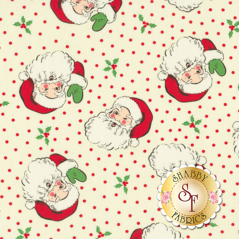 Tossed Santa Claus heads on cream with red dots and holly | Shabby Fabrics