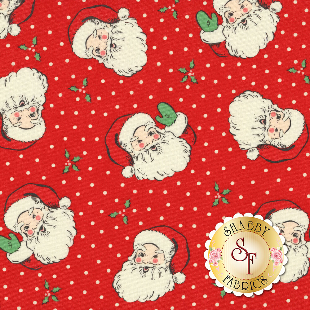 Tossed Santa Claus heads on red with cream dots and holly | Shabby Fabrics