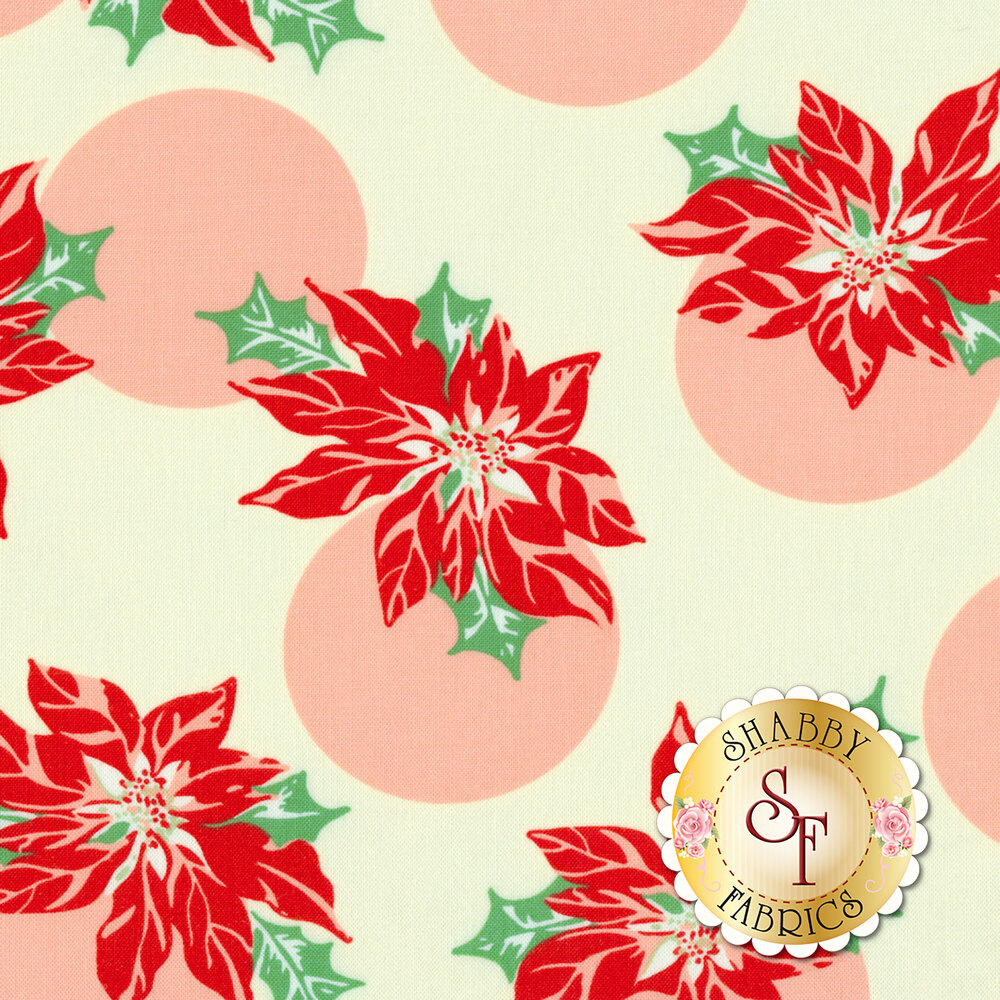 Poinsettias with large pink polka dots on cream | Shabby Fabrics