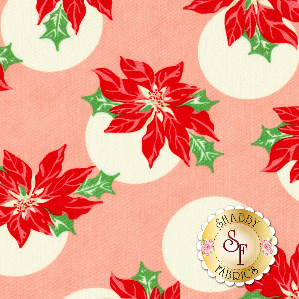 Poinsettias with large cream polka dots on pink | Shabby Fabrics