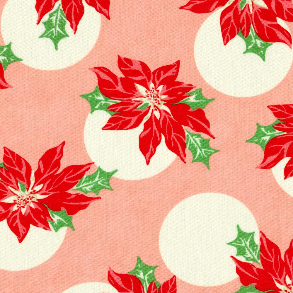 Poinsettias with large cream polka dots on pink | Shabby Fabrics
