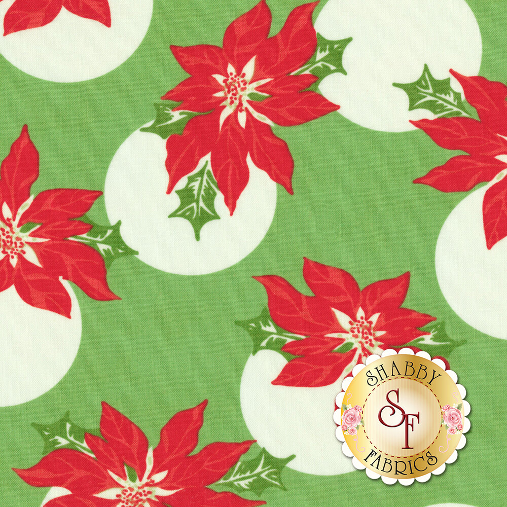 Swell Christmas 31121-14 Poinsettia Polka Dot Light Green for Moda Fabrics