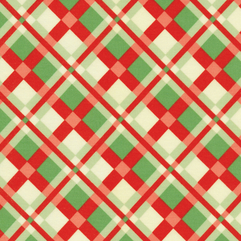 Red and green plaid design with cream | Shabby Fabrics