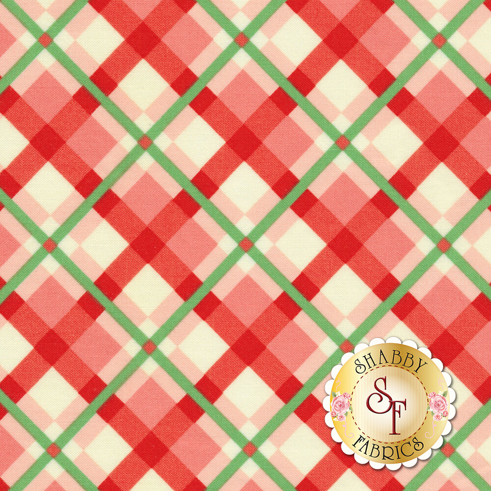 Swell Christmas 31122-15 Plaid Pink Red for Moda Fabrics