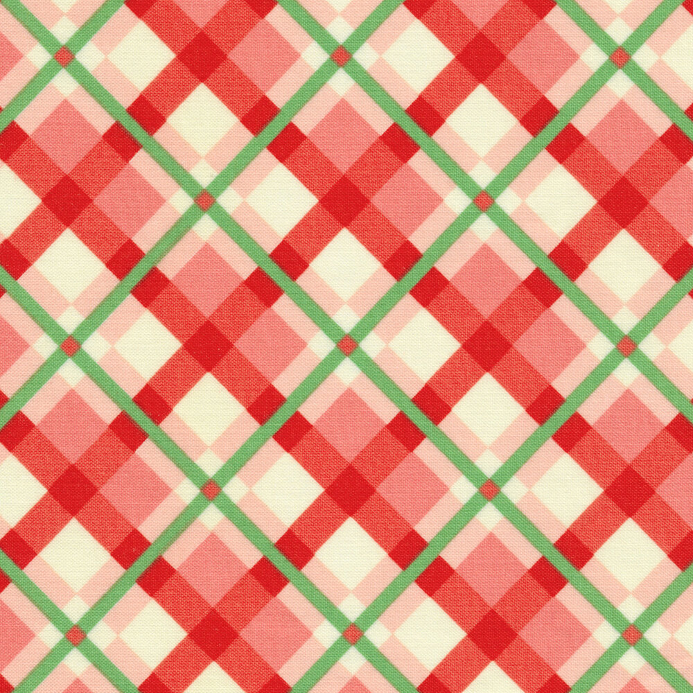 Pink and cream plaid design with green | Shabby Fabrics