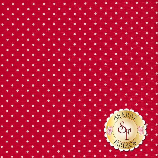 Small white polka dots on red | Shabby Fabrics