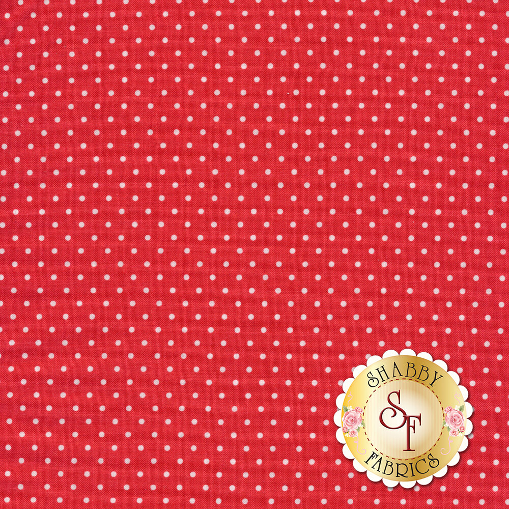 Small white polka dots on light red | Shabby Fabrics