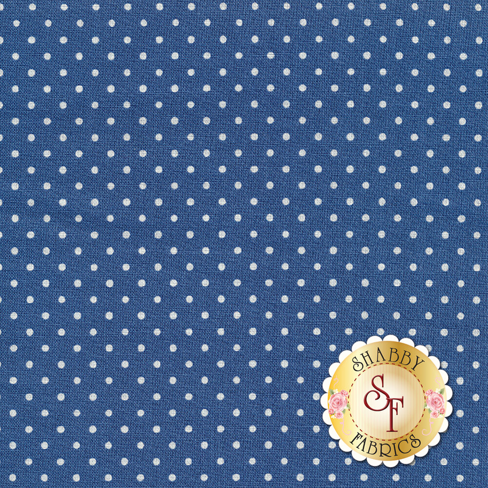 Denim blue with white dots | Shabby Fabrics