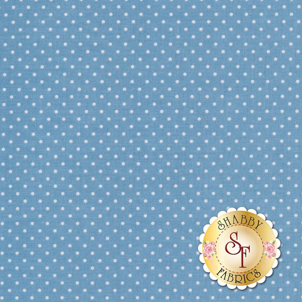 Small white polka dots on light blue | Shabby Fabrics