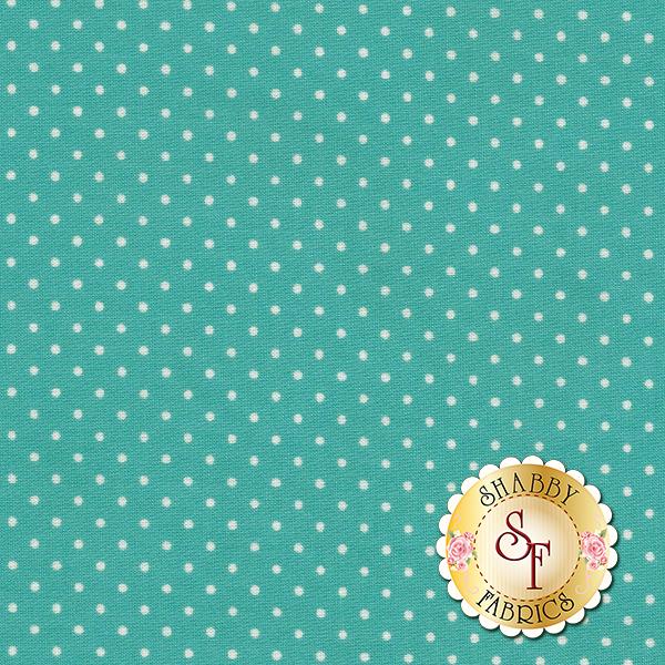 Peacock blue with white dots | Shabby Fabrics