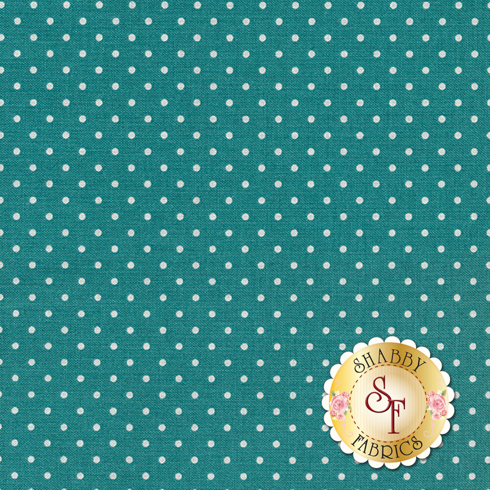 Teal blue with white dots | Shabby Fabrics