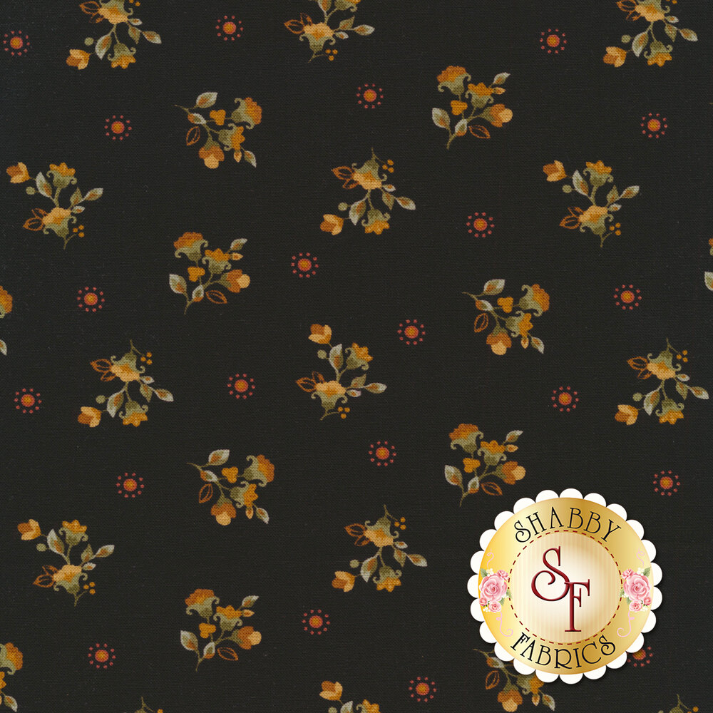Yellow flowers with green leaves tossed on black | Shabby Fabrics
