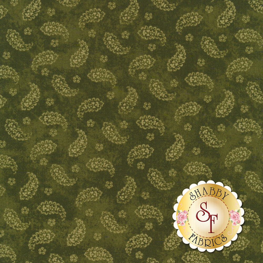 Paisleys all over green | Shabby Fabrics
