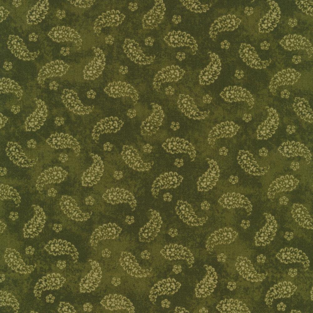 Paisleys all over green   Shabby Fabrics
