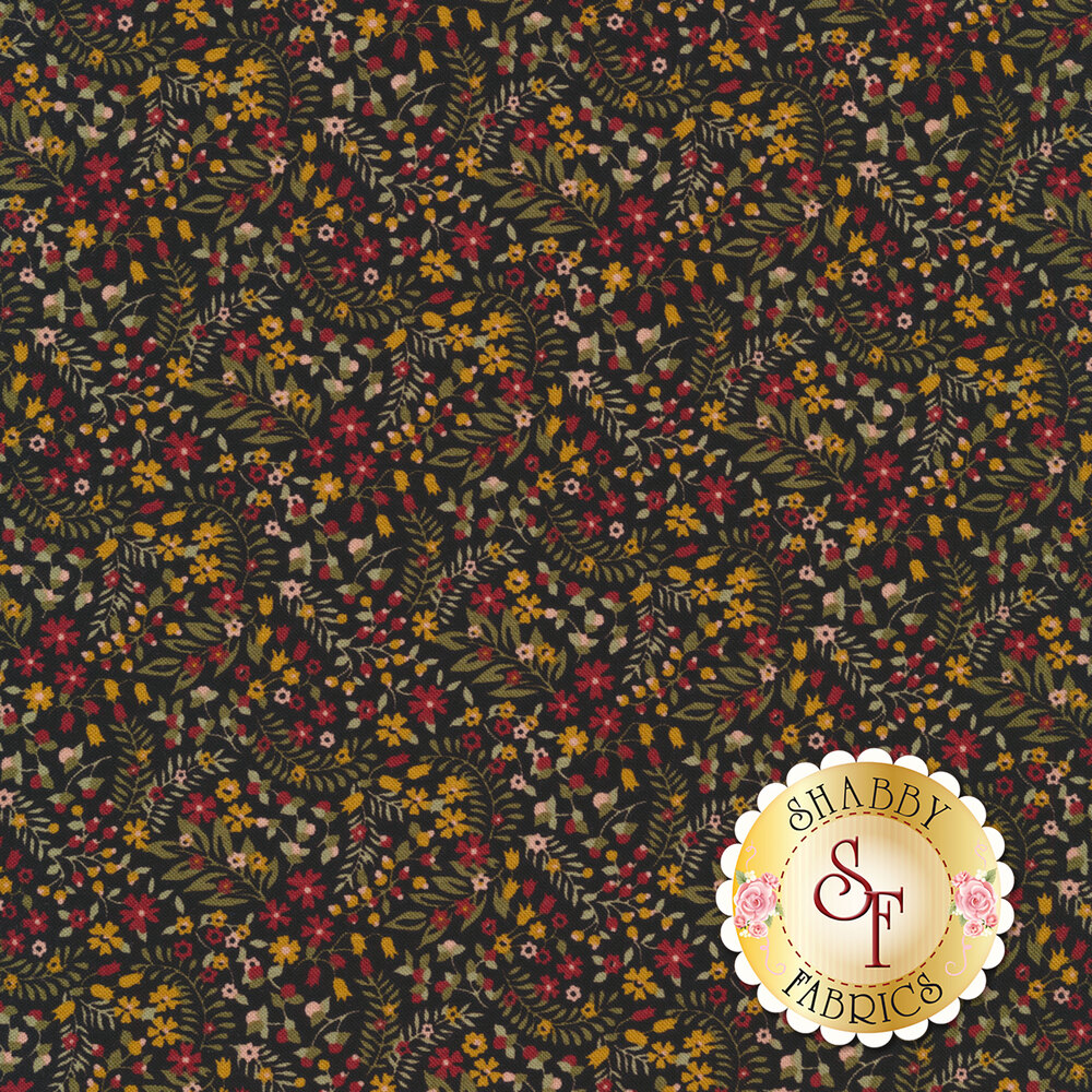 Red and yellow flowers with green leaves all over black | Shabby Fabrics