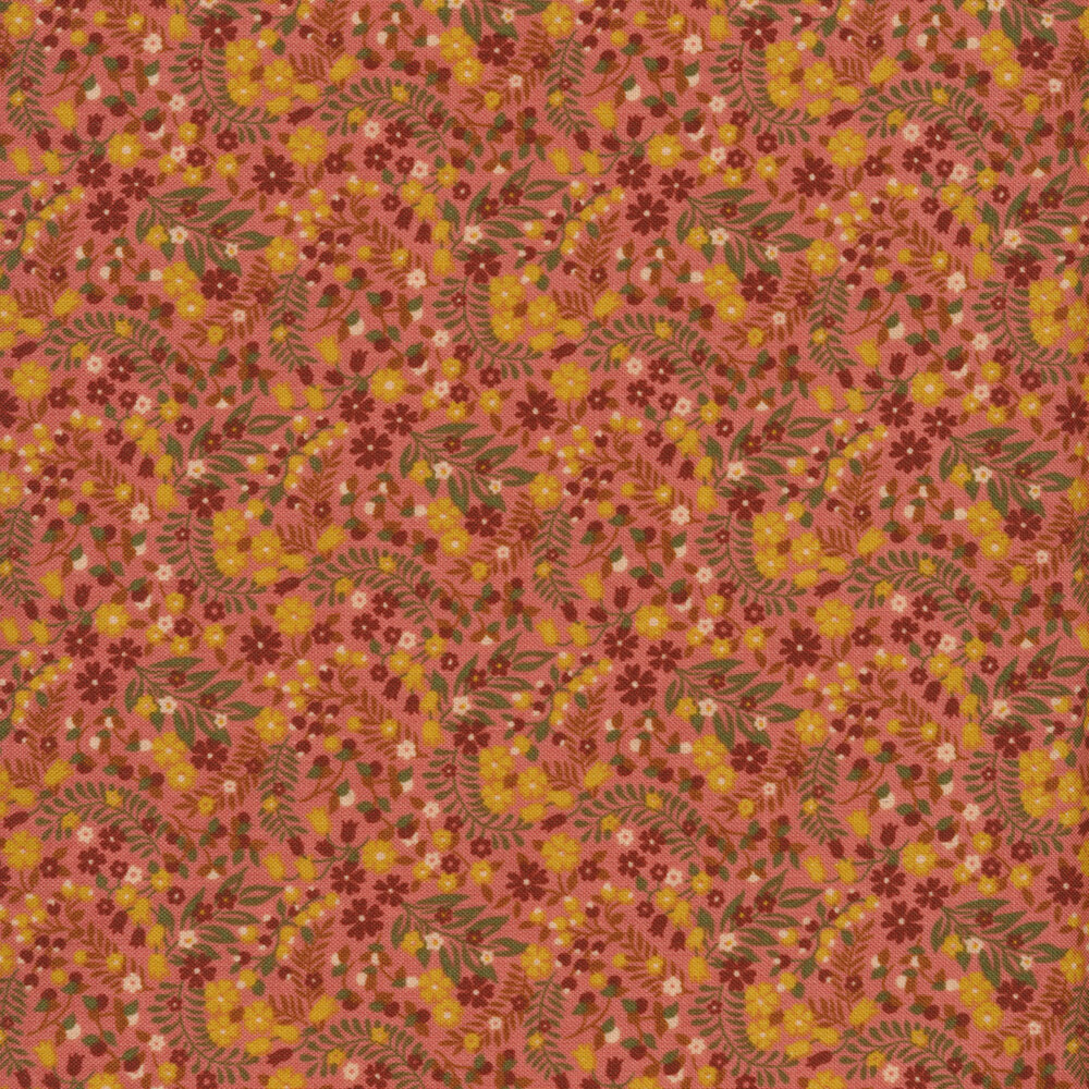 Red and yellow flowers with green leaves all over pink | Shabby Fabrics