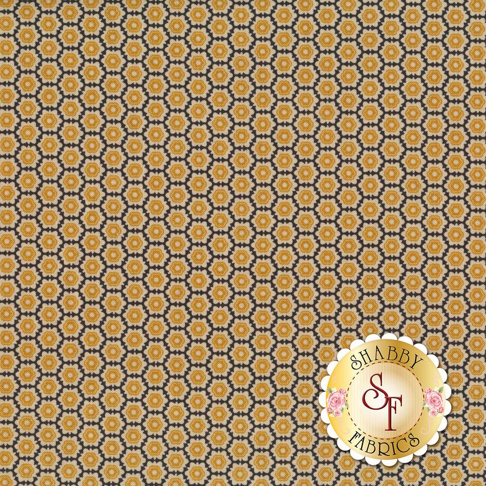 Gold flowers all over black | Shabby Fabrics
