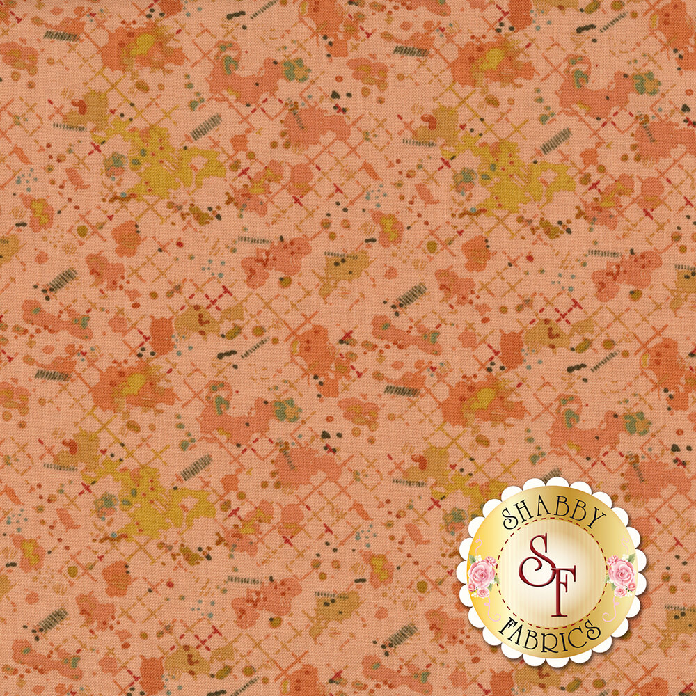 Colorful splotches all over pink | Shabby Fabrics