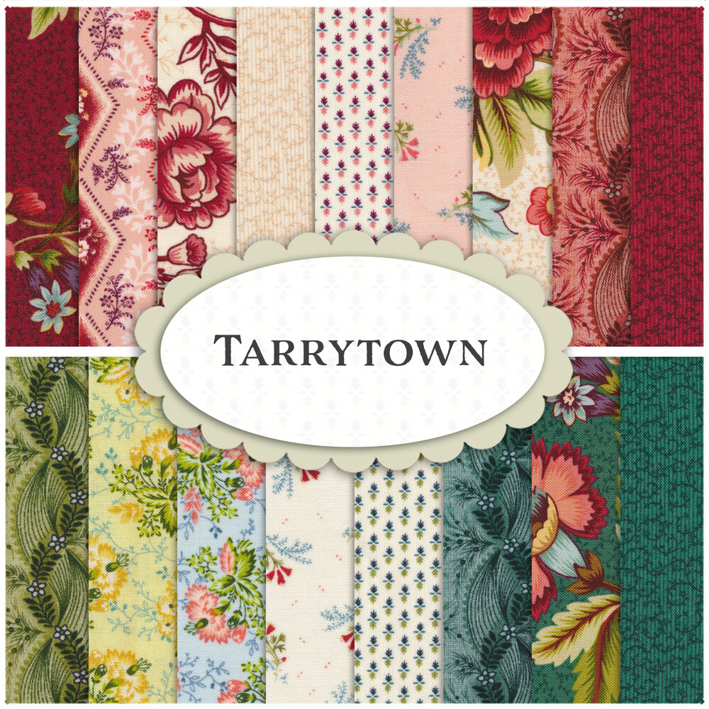 A collage of fabrics included in the Tarrytown collection   Shabby Fabrics