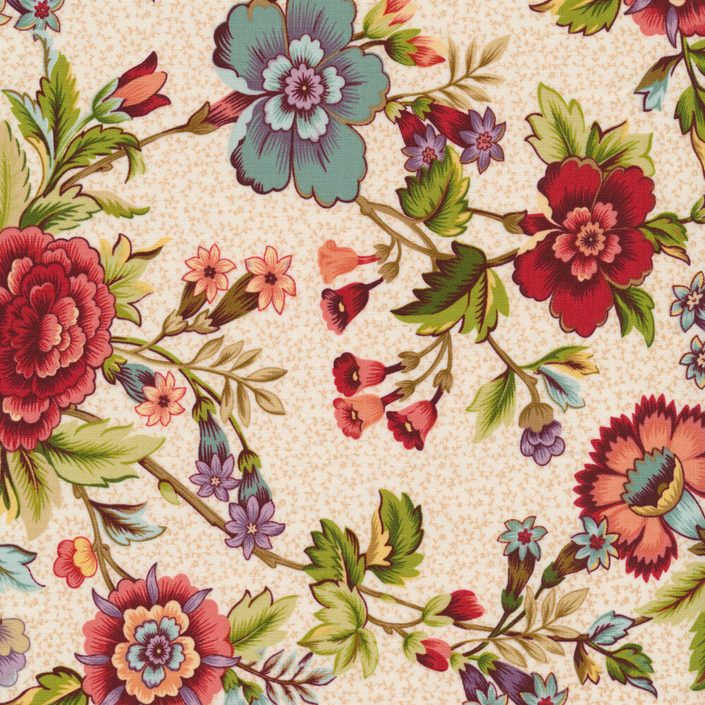 Vintage blue and red flowers on cream | Shabby Fabrics