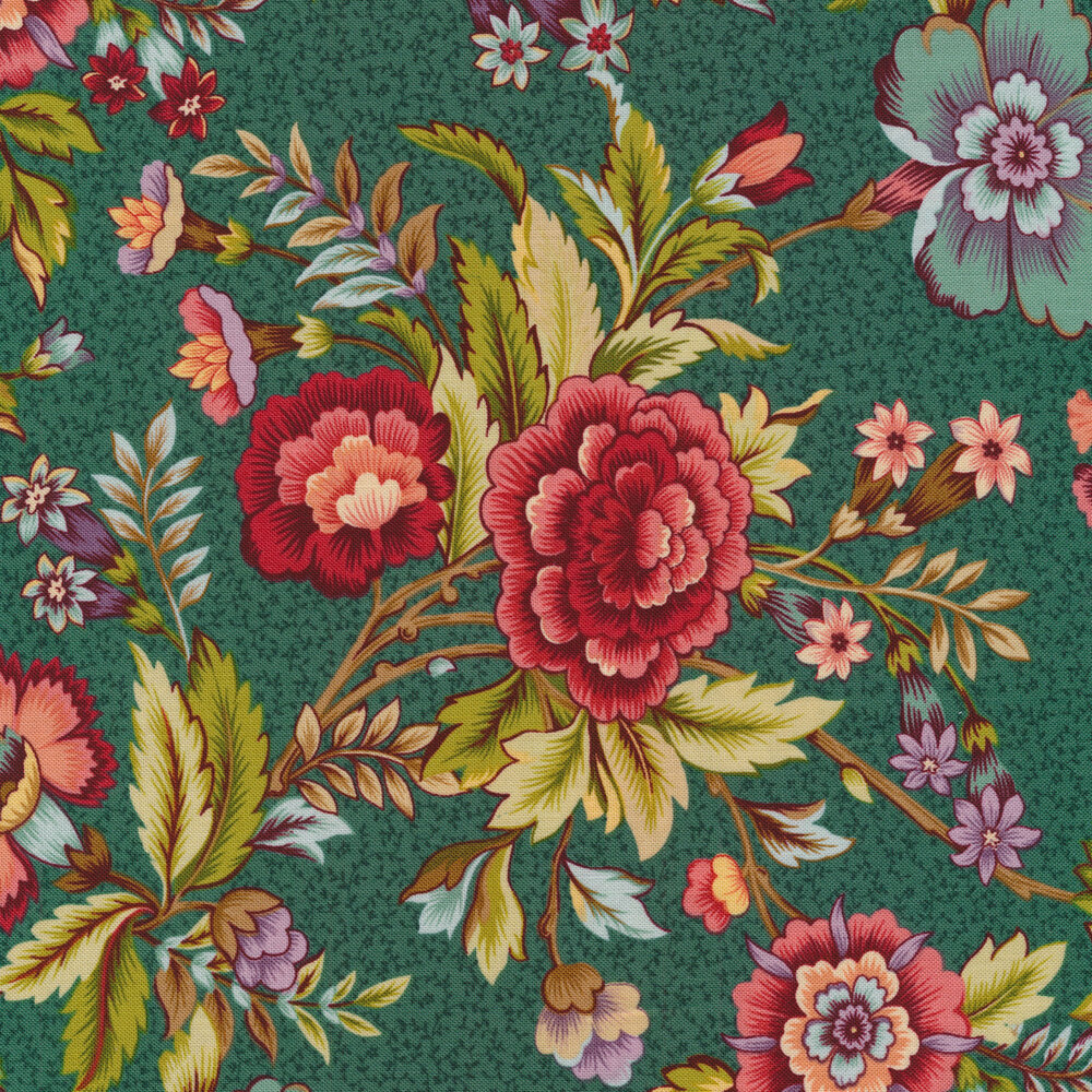 Vintage blue and red flowers on teal | Shabby Fabrics