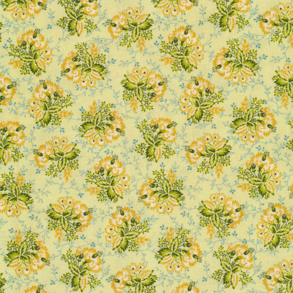 Tossed yellow bouquets on green | Shabby Fabrics