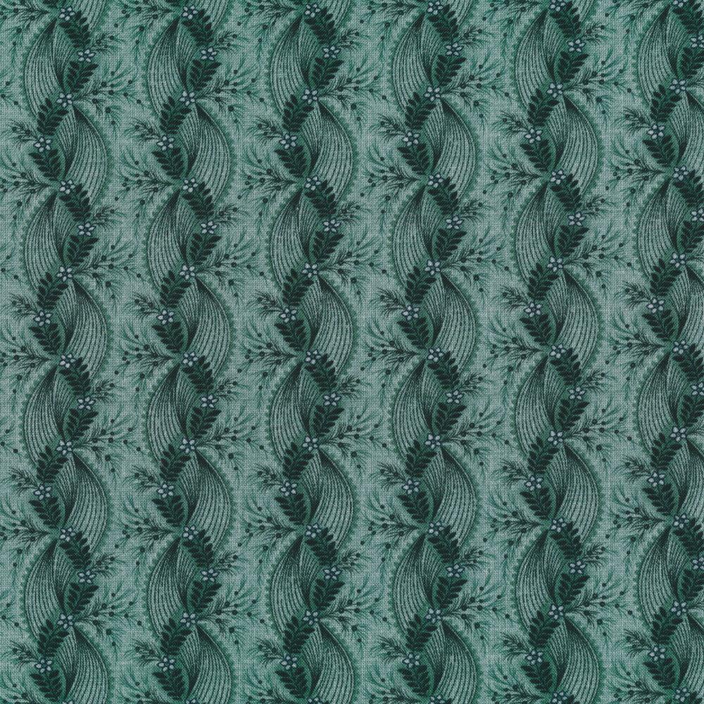 Tonal teal floral stripe | Shabby Fabrics