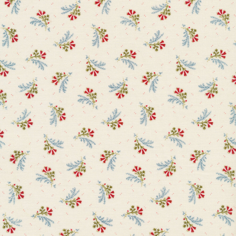 Tossed floral bouquet on cream | Shabby Fabrics