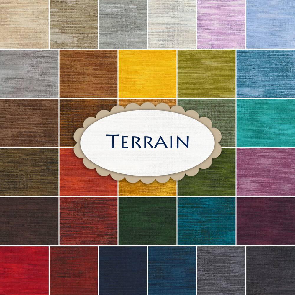 A collage of fabrics included in the Terrain 32 FQ Set