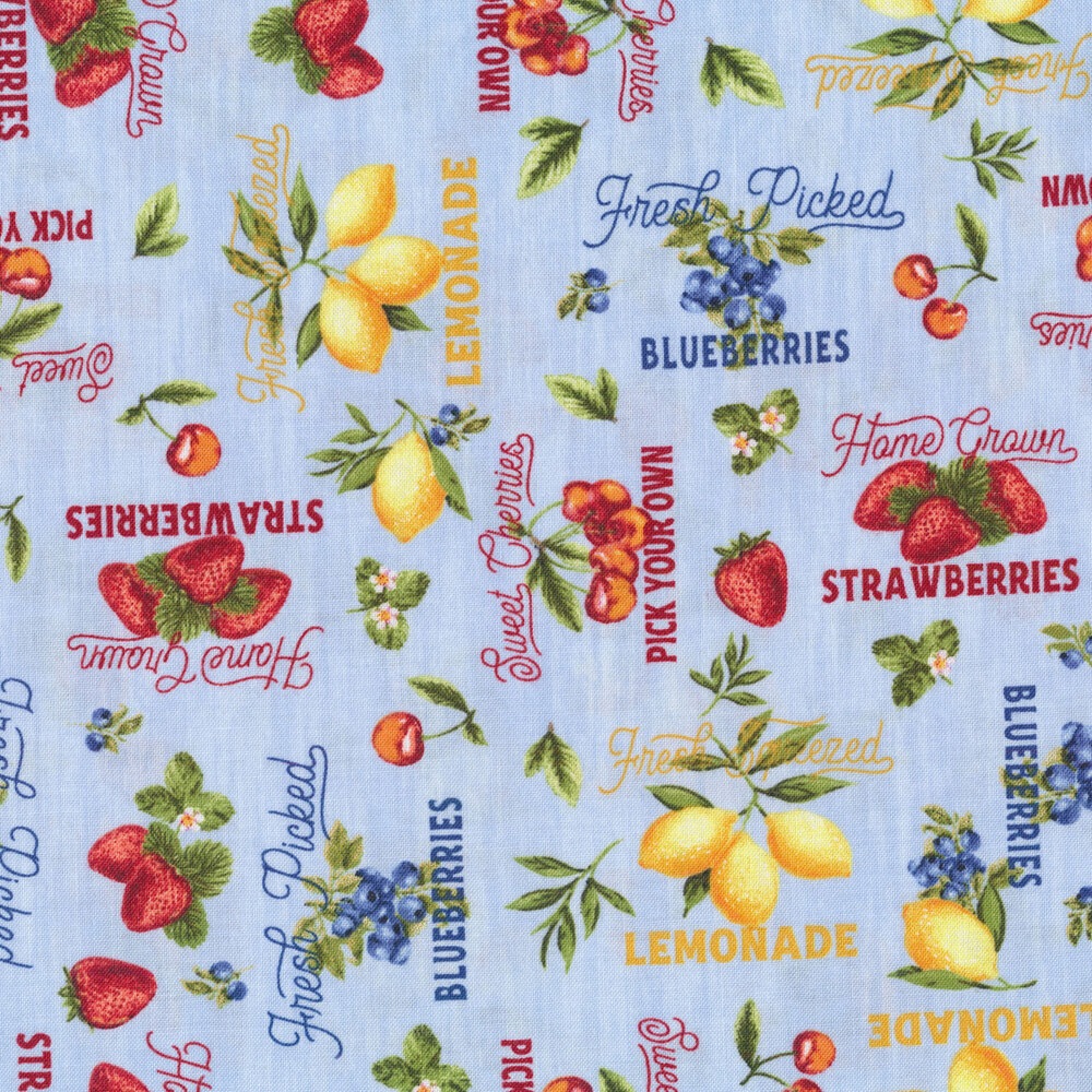 Words and fruits all over light blue | Shabby Fabrics