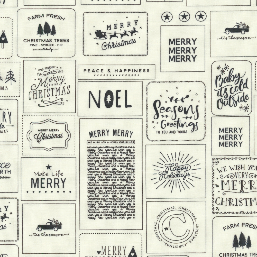Charcoal holiday sayings and boxes on a cream background | Shabby Fabrics