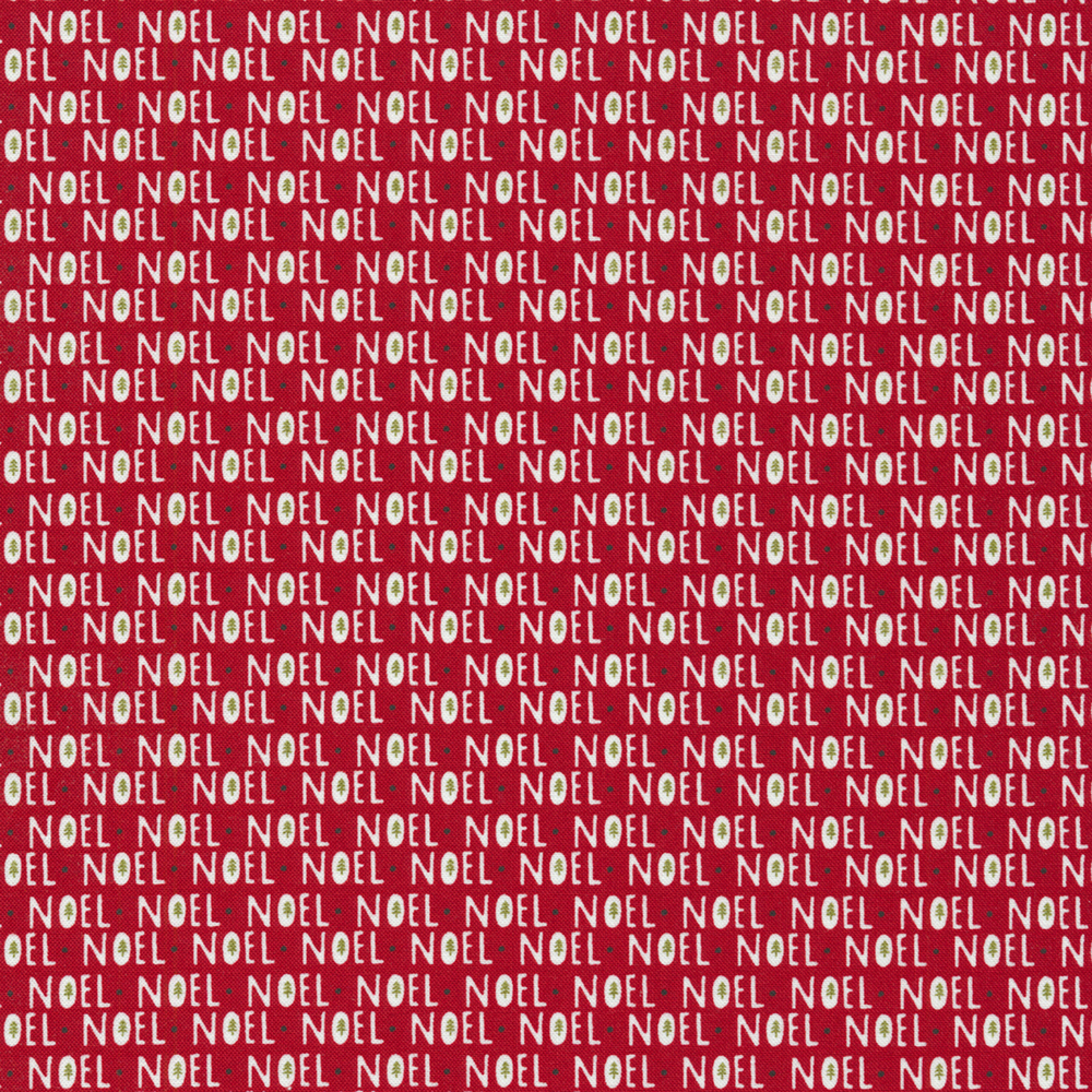 Noel repeated all over a red background | Shabby Fabrics