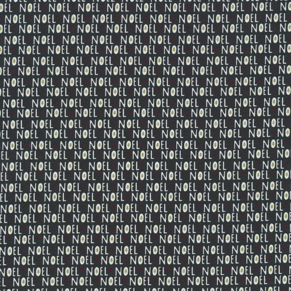 Noel repeated all over a black background | Shabby Fabrics