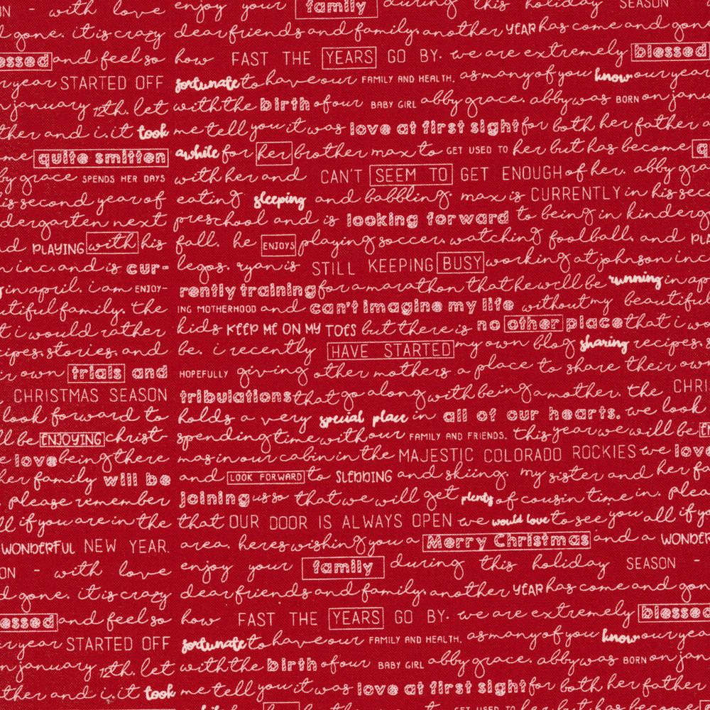 Cursive writing on a red background | Shabby Fabrics