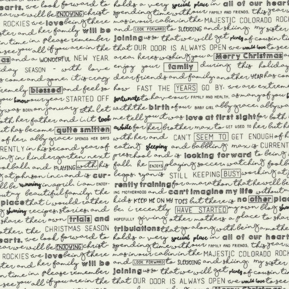Black cursive writing on a cream background | Shabby Fabrics