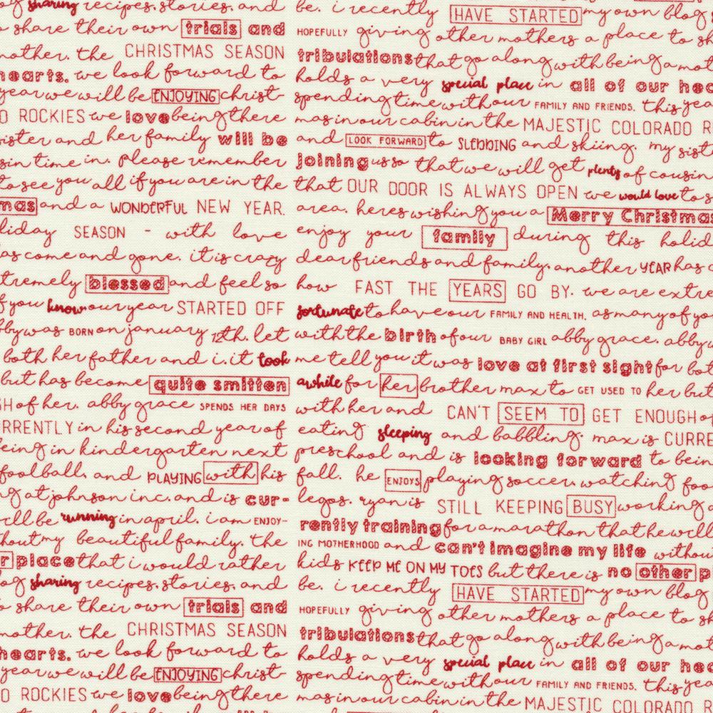 Red cursive writing on a cream background | Shabby Fabrics