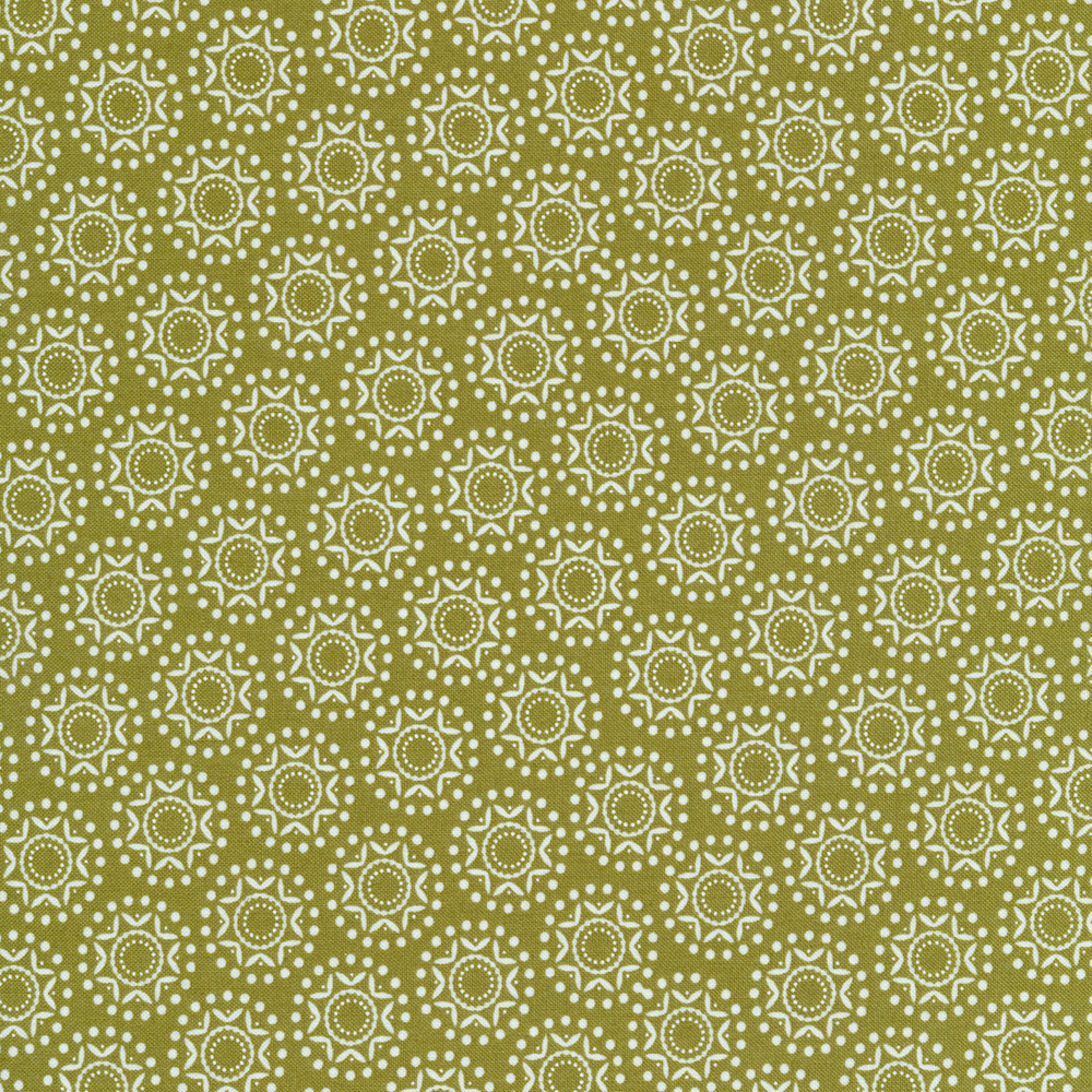 White snowflakes and dots on a green background | Shabby Fabrics