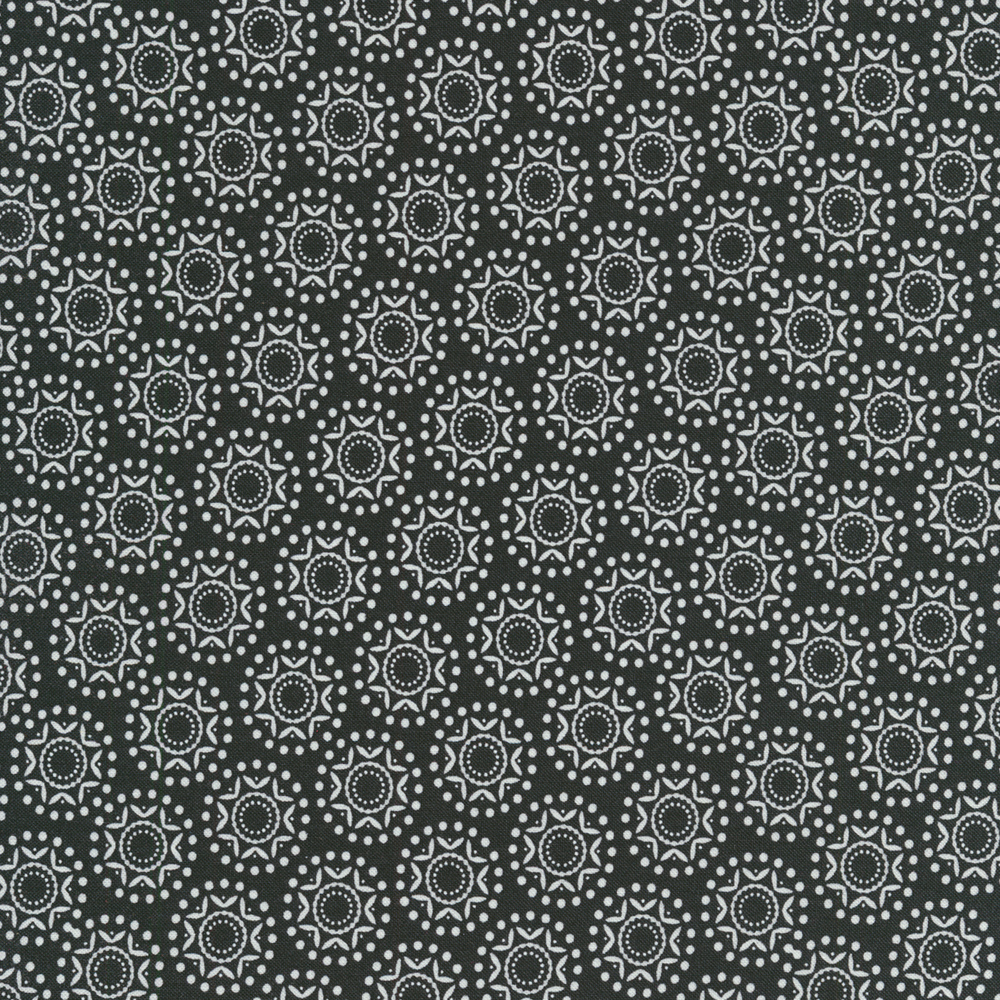 White snowflakes and dots on a black background | Shabby Fabrics