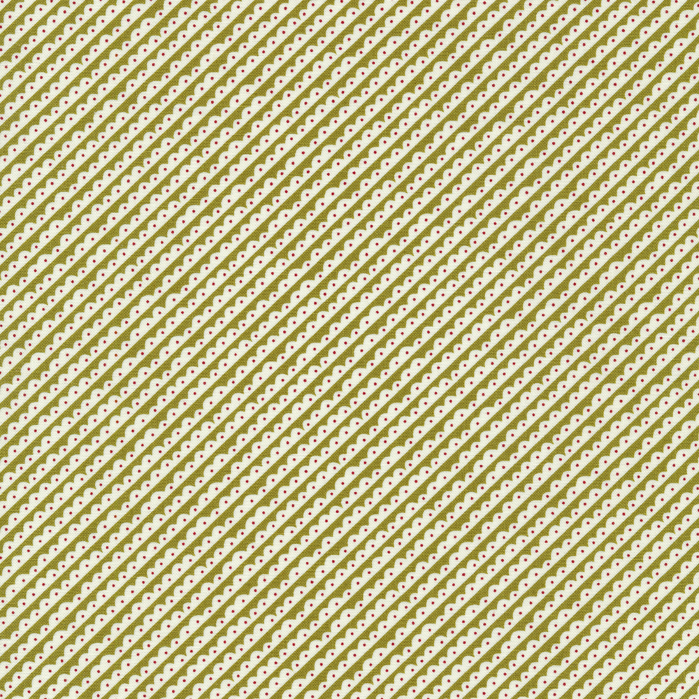 White diagonal scalloped stripes on a green background | Shabby Fabrics