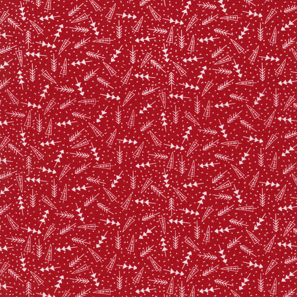 White tossed trees and dots on a red background | Shabby Fabrics