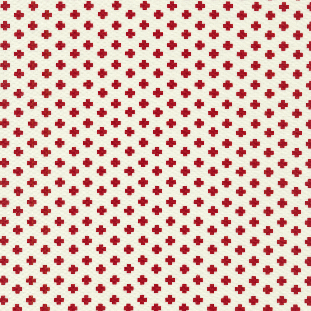 Red crosses all over a white background | Shabby Fabrics