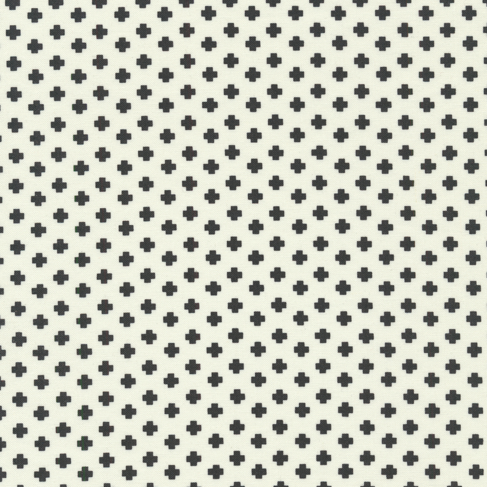 Black crosses all over a white background | Shabby Fabrics